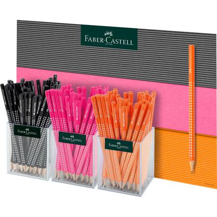 FABER-CASTELL Bleistift GRIP SPARKLE Neon, 3er Köcher