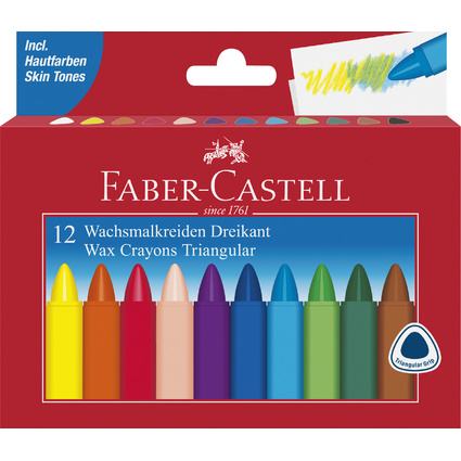 FABER-CASTELL Dreikant-Wachsmalkreide, 12er Kartonetui