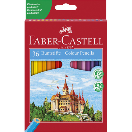 FABER-CASTELL Hexagonal-Buntstifte ECO, 36er Kartonetui