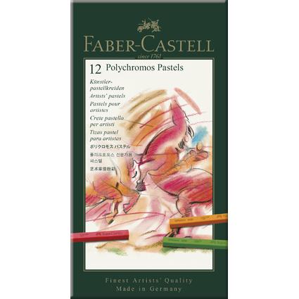 FABER-CASTELL Pastellkreiden POLYCHROMOS, 12er Etui