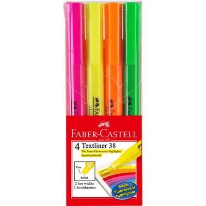 FABER-CASTELL Textmarker TEXTLINER 38, 4er Etui