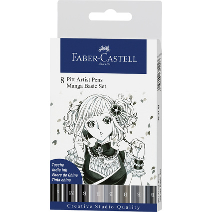 FABER-CASTELL Tuschestift PITT artist pen, Manga Basic Set