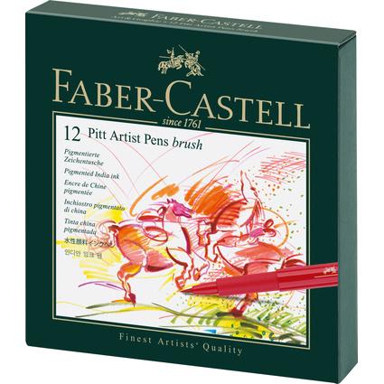 FABER-CASTELL Tuschestift PITT artist pen, 12er Atelierbox