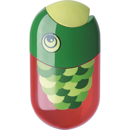 "FABER-CASTELL Doppelspitzdose ""Fisch"", rot/grün"