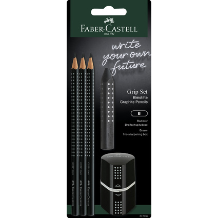 FABER-CASTELL Bleistift GRIP 2001 Set, schwarz, Blister