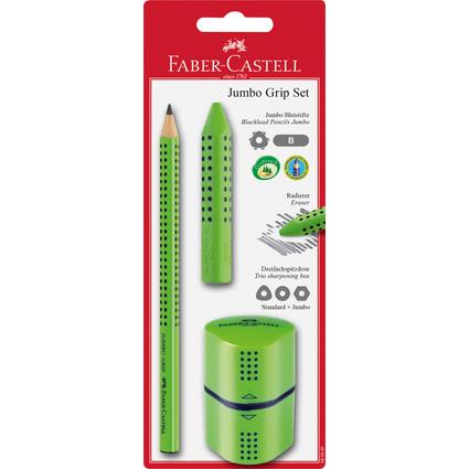 FABER-CASTELL Bleistift Jumbo GRIP Set, hellgrün, Blister