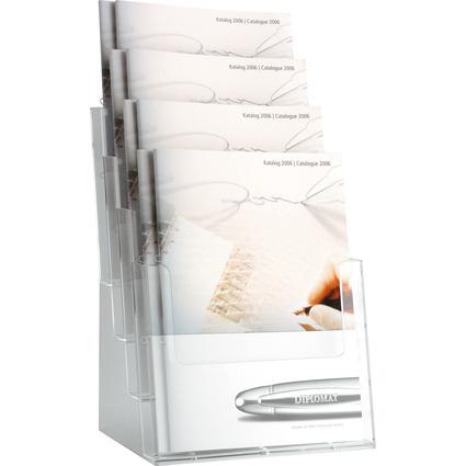 helit Tisch-Prospekthalter, DIN A4 hoch, 4 Fächer, glasklar