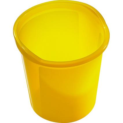 helit Papierkorb Economy Transluzent, PP, gelb-transluzent