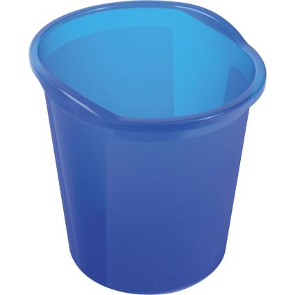 helit Papierkorb Economy Transluzent, PP, blau-transluzent