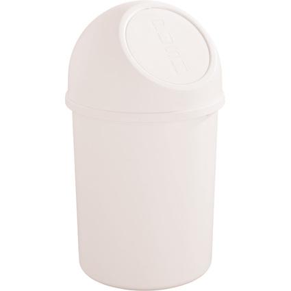 helit Abfalleimer mit Push-Einwurfklappe, 6 Liter, weiß
