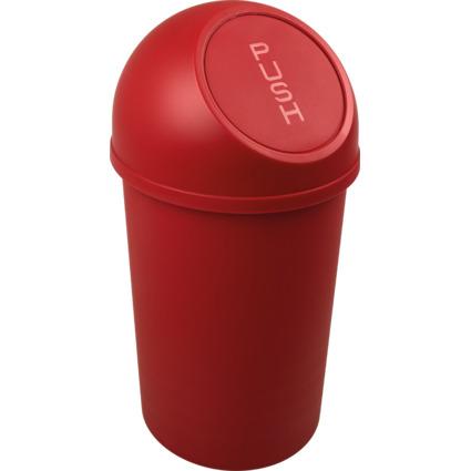 helit Abfalleimer mit Push-Einwurfklappe, 13 Liter, rot