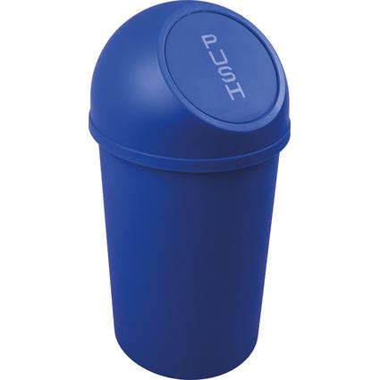 helit Abfalleimer mit Push-Einwurfklappe, 13 Liter, blau