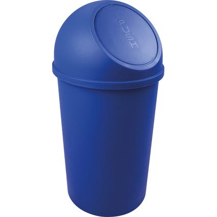 helit Abfalleimer mit Push-Einwurfklappe, 25 Liter, blau