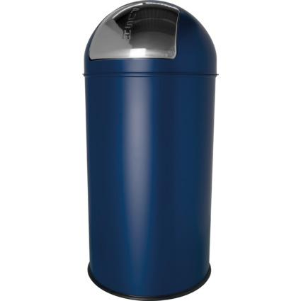 helit Abfalleimer mit Push-Einwurfklappe, 50 Liter, blau