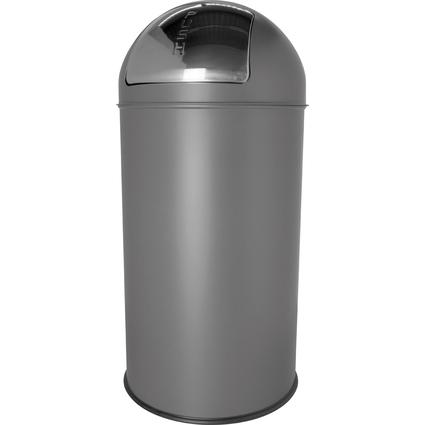 helit Abfalleimer mit Push-Einwurfklappe, 50 Liter, grau