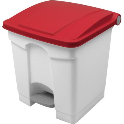 helit Tret-Abfalleimer, 30 Liter, weiß/rot