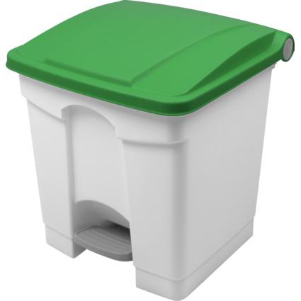 helit Tret-Abfalleimer, 30 Liter, weiß/grün