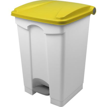 helit Tret-Abfalleimer, 45 Liter, weiß/gelb