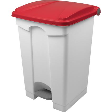 helit Tret-Abfalleimer, 45 Liter, weiß/rot