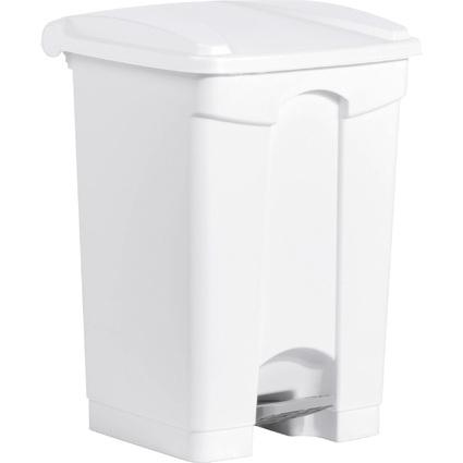 helit Tret-Abfalleimer, 45 Liter, weiß/weiß