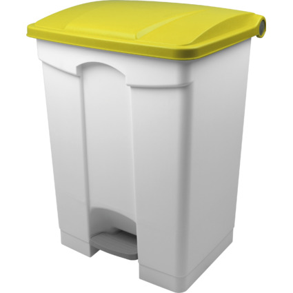 helit Tret-Abfalleimer, 70 Liter, weiß/gelb