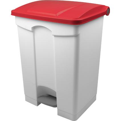 helit Tret-Abfalleimer, 70 Liter, weiß/rot