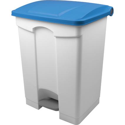 helit Tret-Abfalleimer, 70 Liter, weiß/blau