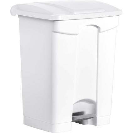 helit Tret-Abfalleimer, 70 Liter, weiß / weiß