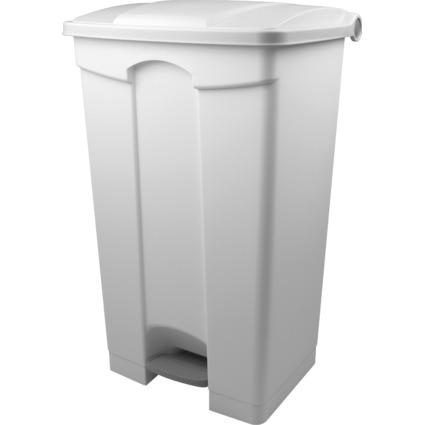 helit Tret-Abfalleimer, 90 Liter, weiß / weiß
