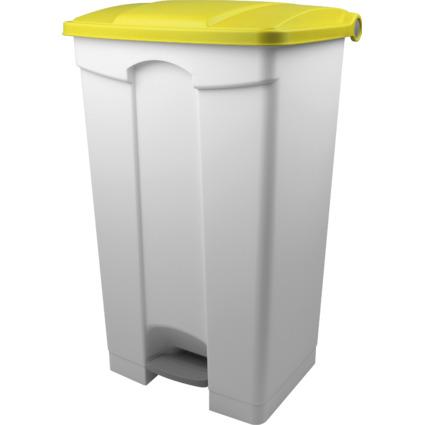 helit Tret-Abfalleimer, 90 Liter, weiß/gelb