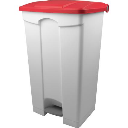 helit Tret-Abfalleimer, 90 Liter, weiß / rot