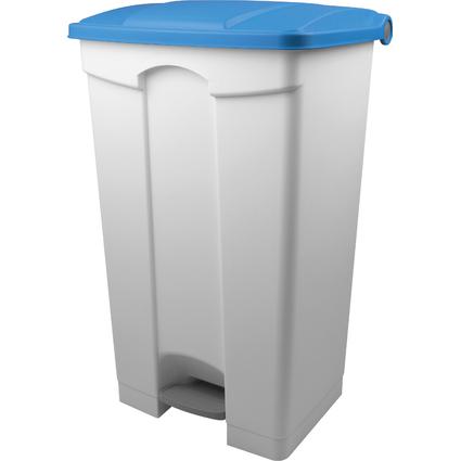 helit Tret-Abfalleimer, 90 Liter, weiß/blau