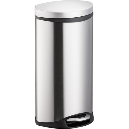 "helit Tret-Abfalleimer ""Muschel"", 30 Liter, silber"