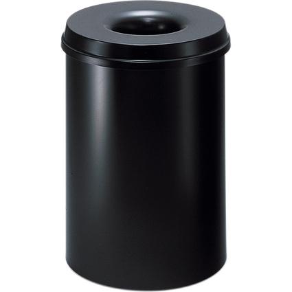 helit Stahl-Papierkorb, mit Flammenlöschkopf, 15 Liter