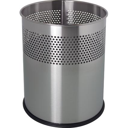 helit Edelstahl-Papierkorb, mit Lochdekor, 15 Liter, silber