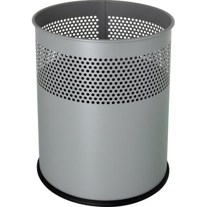 helit Stahl-Papierkorb, mit Lochdekor, 15 Liter, alu-grau