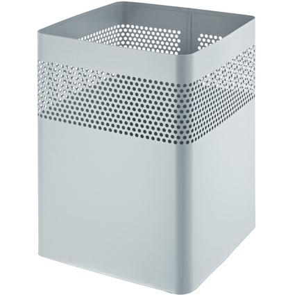 helit Stahl-Papierkorb, mit Lochdekor, 15 Liter, mittelgrau