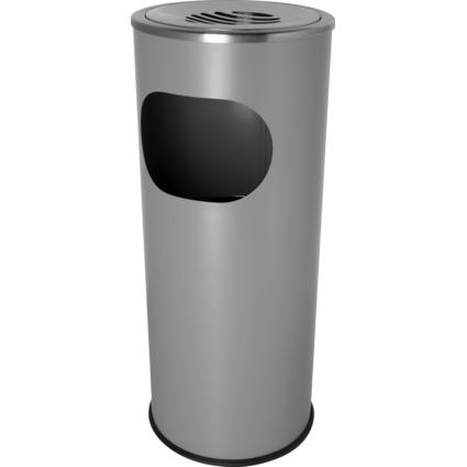 helit Stahl-Papierkorb mit Ascher, rund, mittelgrau