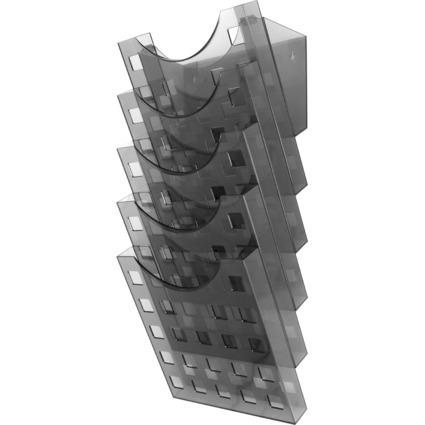 helit Wand-Prospekthalter-Set, DIN A4 hoch, grau-transparent