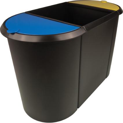 helit Papierkorb Trio-System, oval, PE, schwarz/gelb/blau