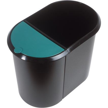 helit Papierkorb Duo-System, oval, PE, schwarz/grün