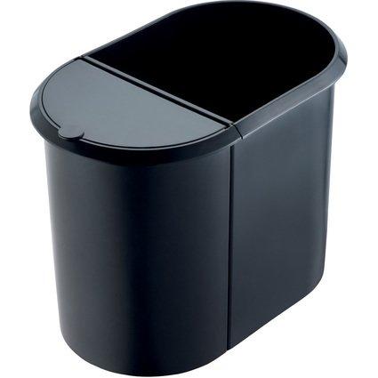 helit Papierkorb Duo-System, oval, PE, schwarz
