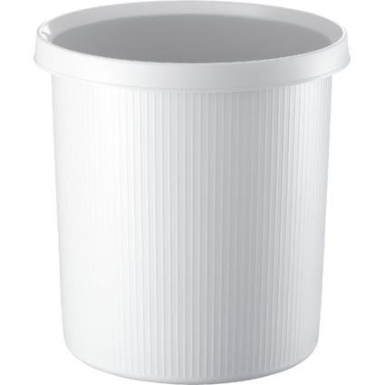 helit Papierkorb Linear, 18 Liter, rund, PE, weiß