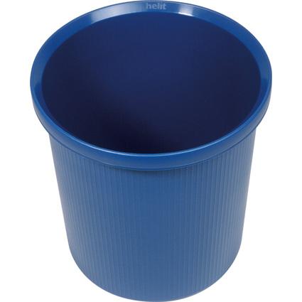 helit Papierkorb Linear, 18 Liter, rund, PE, blau