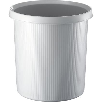 helit Papierkorb Linear, 18 Liter, rund, PE, lichtgrau
