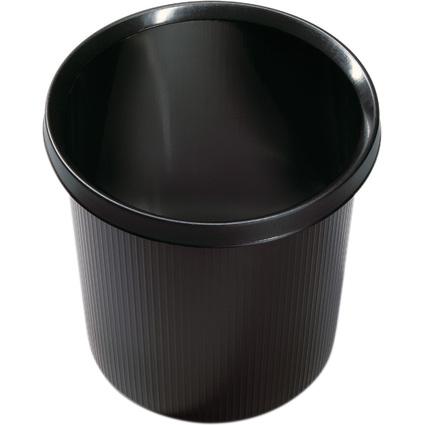 helit Papierkorb Linear, 18 Liter, rund, PE, schwarz