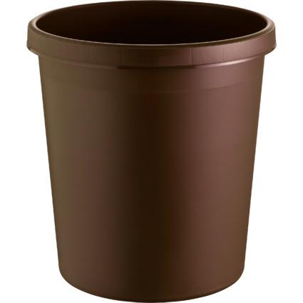 helit Papierkorb, 18 Liter, PE, rund, braun