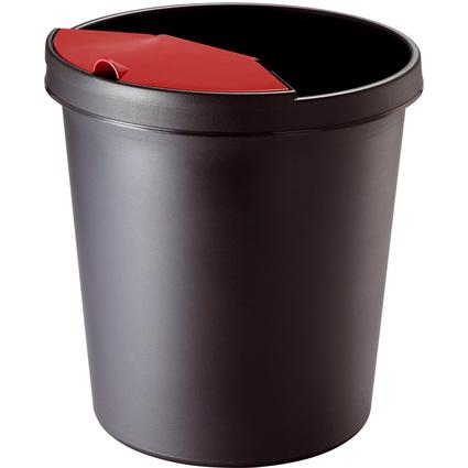 helit Papierkorb, 18 Liter, PE, rund, schwarz