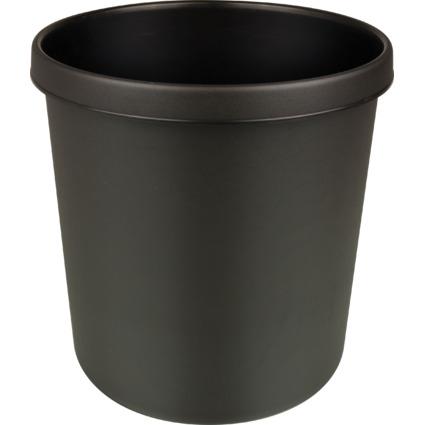 helit Papierkorb, schwer entflammbar, 18 Liter, PP, schwarz