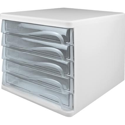 helit Schubladenbox, 5 Schübe, weiß/glasklar